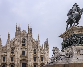 Square of the Duomo of Milan in Italy