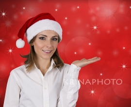 Model for Christmas advertising photo.